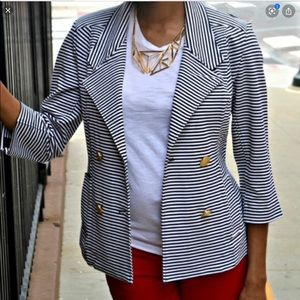 CAbi Navi/White Striped Nautical Blazer Jacket